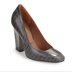 Sigerson Morrison Fadwa Croc Embossed Gray. Pumps